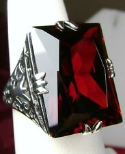 30ct *Red-Garnet* Sterling Silver New Vintage Filigree Ring Size 10 {In Stock}