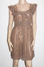 BARKINS Designer Brown Printed Chiffon Tea Dress Size 12-M #SJ09