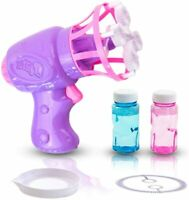 Bubble Machine Gun for Kids, Colorful Small Bubble Blower Toy Gun with Two Refil