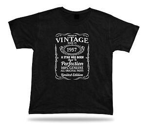 Printed T shirt tee star is born 1957 happy birthday present gift idea original