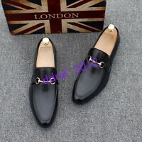 Men New Slip On Round Toe Metal Decor Leather Business Casual Loafers Shoes Size