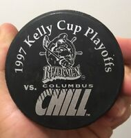 Vintage Columbus Chill Peoria Rivermen Hockey Puck ECHL 1997 Kelly Cup Playoffs