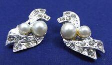 Vintage Costume Earrings Faux Pearl Rhinestone Silvertone Bow Design Clipon 1 in