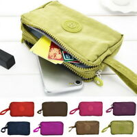 Womens Phone Bag Short Wallet Three Zipper Purse Big Size Coin Purse