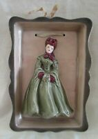 FLORENCE CERAMICS Wall Plaque, Pretty 2-D Lady with Muff, Mid-Century Vintage