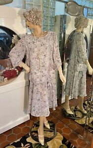 20s Dress 30s Flapper Gatsby Drop waist Summer weight Gray white size XL