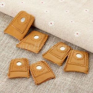 2pcs Sewing Finger Protector Thimbles Leather Finger Shiled  With Metal Tip