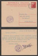 FRANCOBOLLI 25-10-1952 STORIA POSTALE REPUBBLICA INTERO POSTALE 20 LIRE FIACCOLA