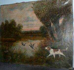 Antique French Oil On Canvas. Hunting Scene. 1900.