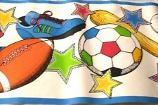 Wallpaper Border All Sports Star Blue Trim Baseball Soccer Football EH99747 NIP