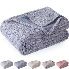 Kawahome Original Knit Blanket (King Size, Blue and White) Cozy Reversible