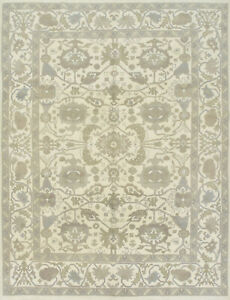 Oushak Rug, 9'x12', Ivory, Hand-Knotted Wool Pile