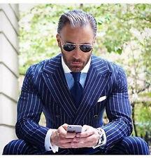Men Blue Stripes Suits Designer Wedding Casual Dinner Suits (Coat+Pant)