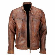 Homme Style Rétro Zippé Veste de motard en cuir véritable souple Casual Tan colo