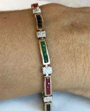 10k Solid Gold Genuine Ruby Sapphire Emerald & Diamond Women's tennis Bracelet