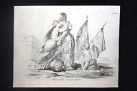 Incisione d'allegoria e satira Bologna e Roma Don Pirlone 1851
