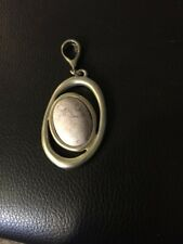 Chicos Oval Silvertone Pendant With Stone Center Light Pink