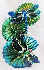 Dragonflies on Lily Pads Metal/w Acrylic Insert Wall Art Home & Garden Decor