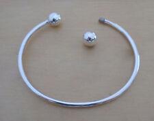 925 Sterling Silver Screw End Charm Torque Bangle Bracelet Circumference 20 cm