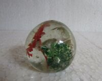 Vintage old Rare Glass Paper-weight Red/ Green/ White Flower Design Collectible