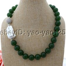 "K061207 19"" 16MM Green Jade White Keshi Pearl Necklace"
