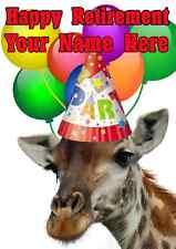 Giraffe Happy Retirement Party Hat Card codegi Personalised Greetings