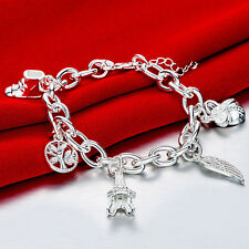 925 Sterling Silver Charm Round Bangle Women's Men Fashion Heart Bracelet DLH539