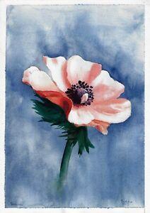 original drawing A4 13ZO art samovar Watercolor flower Signed 2021
