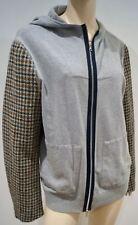 Dries van Noten grau Jersey Kapuzen lange Tweed Sleeve Hoodie Pullover Jacke L