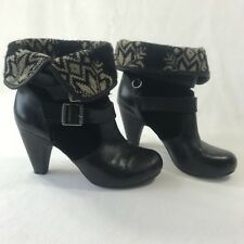 Gianni Bini Women's Sz 7.5 Black Leather Buckle Fold Detail Heel Ankle Booties