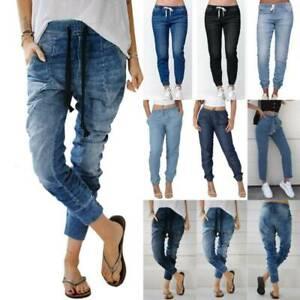 Womens Elastic Waist Jeans Denim Harem Pants Baggy Joggers Trousers Plus Size