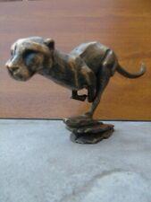statue d une panthère a la course en fonte pat bronze ,  nouveau !