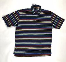 Orvis Mens World Flag Navy Blue Striped Polo Shirt Size Large