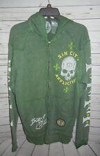 Affliction Mens green Hooded zip up jacket, Medium