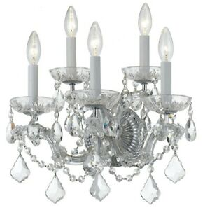 Crystorama Maria Theresa 5 Light Clear Crystal Chrome Sconce II - 4404-CH-CL-MWP