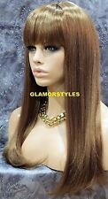 Long Straight With Bangs Golden Brown Full Synthetic Wig Hair Piece #14 NWT