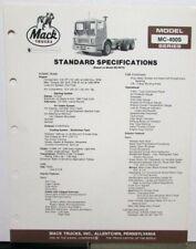 1982 Mack Trucks Model MC 400S Diagrams Dimensions Sales Brochure Original