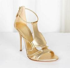 CASADEI Womens TRIKINI Gold Leather Strappy High-Heel Sandal 7.5-37.5 NEW