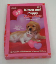 retro 1997 valentines kitten and puppy pictures 32 small trading cards in box
