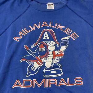 Milwaukee Admirals Vintage Logo Hockey Men's Sweatshirt Crewneck Trench L NHL
