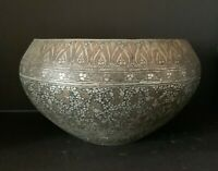 Antique Islamic Persian Qajar Bwol with silver decoration