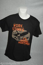 Mens Tee Shirt BLACK Duck Commander WORK STINKS IM GOING HUNTING Size M 38-40