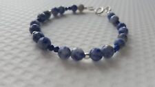 SODALITE, LAPIS LAZULI AND STERLING SILVER BEACELET.