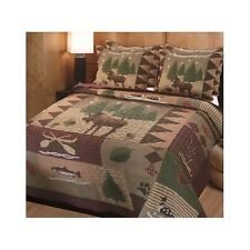 Bedding Comforter Set Country Lodge Rustic Hunting Cabin Quilt Shams Full/Queen