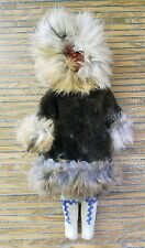 RARE ESKIMO ETHNIC DOLL SOUVENIR WITH RABBIT FUR COAT AND LEATHER BOOTS GORGEOUS