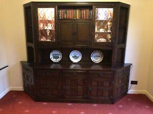 Priory Dark Oak Display Dresser/Sideboard With Cocktail Cabinet