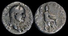 Vespasian AR denarius Vespasian seated right