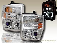 08 09 10 FORD F250 F350 F450 CCFL DUAL HALO W/ LED CHROME PROJECTOR HEADLIGHTS