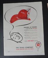 Original Print Ad 1947 TEXACO Fire-Chief Gasoline Dreams of Power Vintage Art
