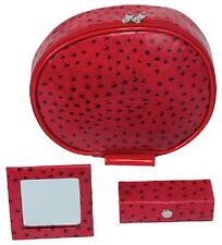 "KINGSLEY - Red ""Ostrich"" TRAVEL/COSMETIC BAG 3 PIECE SET DOPP Kit New TC-62"